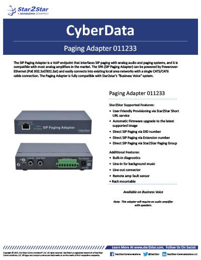 CyberData Paging Adapter