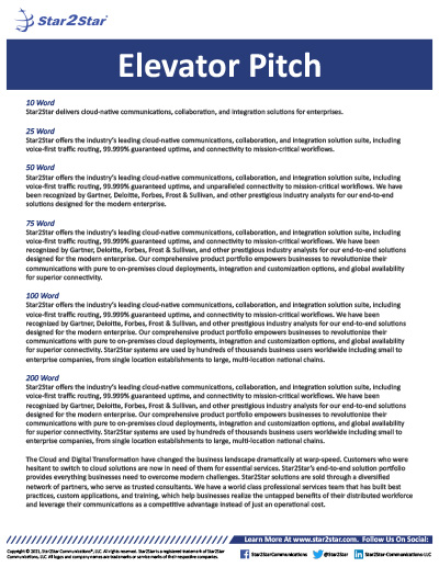Star2Star Elevator Pitch