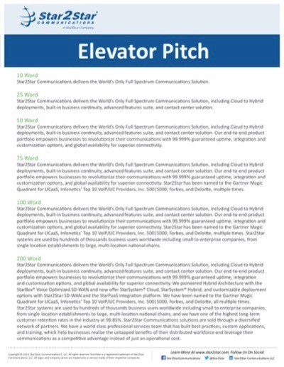 Star2Star Elevator Pitch