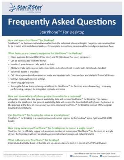 Frequently Asked Questions StarPhone For Desktop
