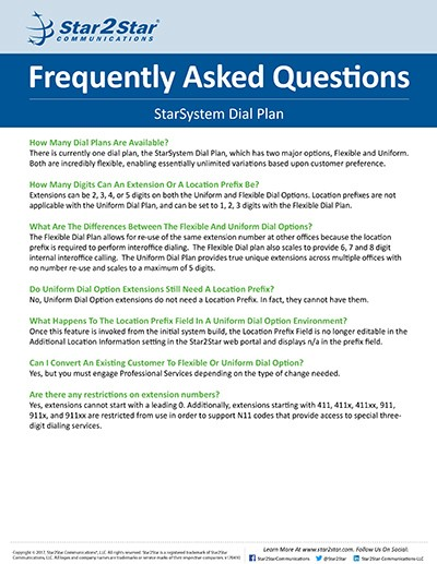 StarSystem Dial Plan FAQs