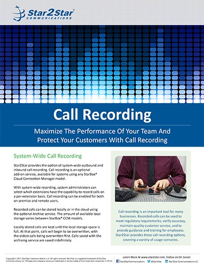 StarCenter Call Recording