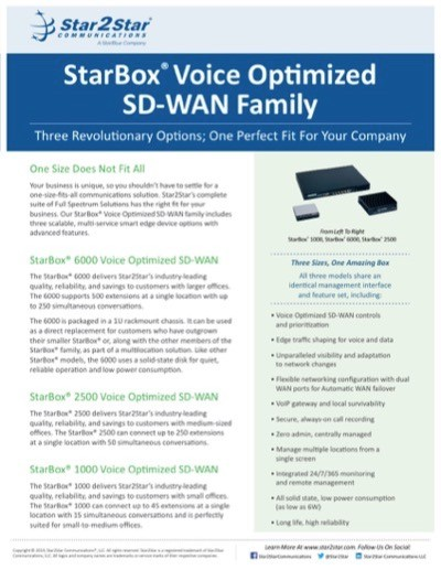 The StarBox Voice Optimized SD-WAN Family